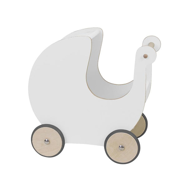 Toy . Wooden Dolls Pram - White