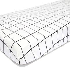 Fitted Sheet . Cot - Monochrome / Grid