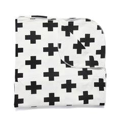 Blanket . Baby - Cross / Black On White