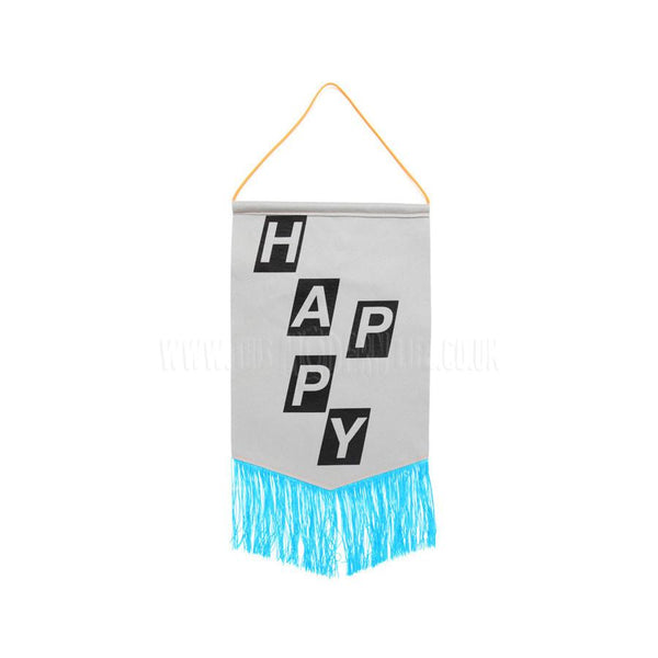Banner . Felt Print . Happy / Blue