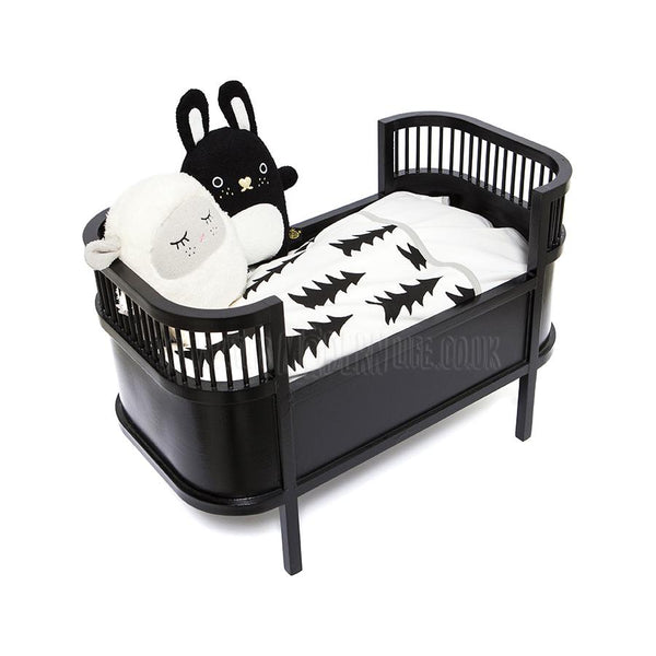 Toy . Retro Dolls Bed / Small Crib - Black