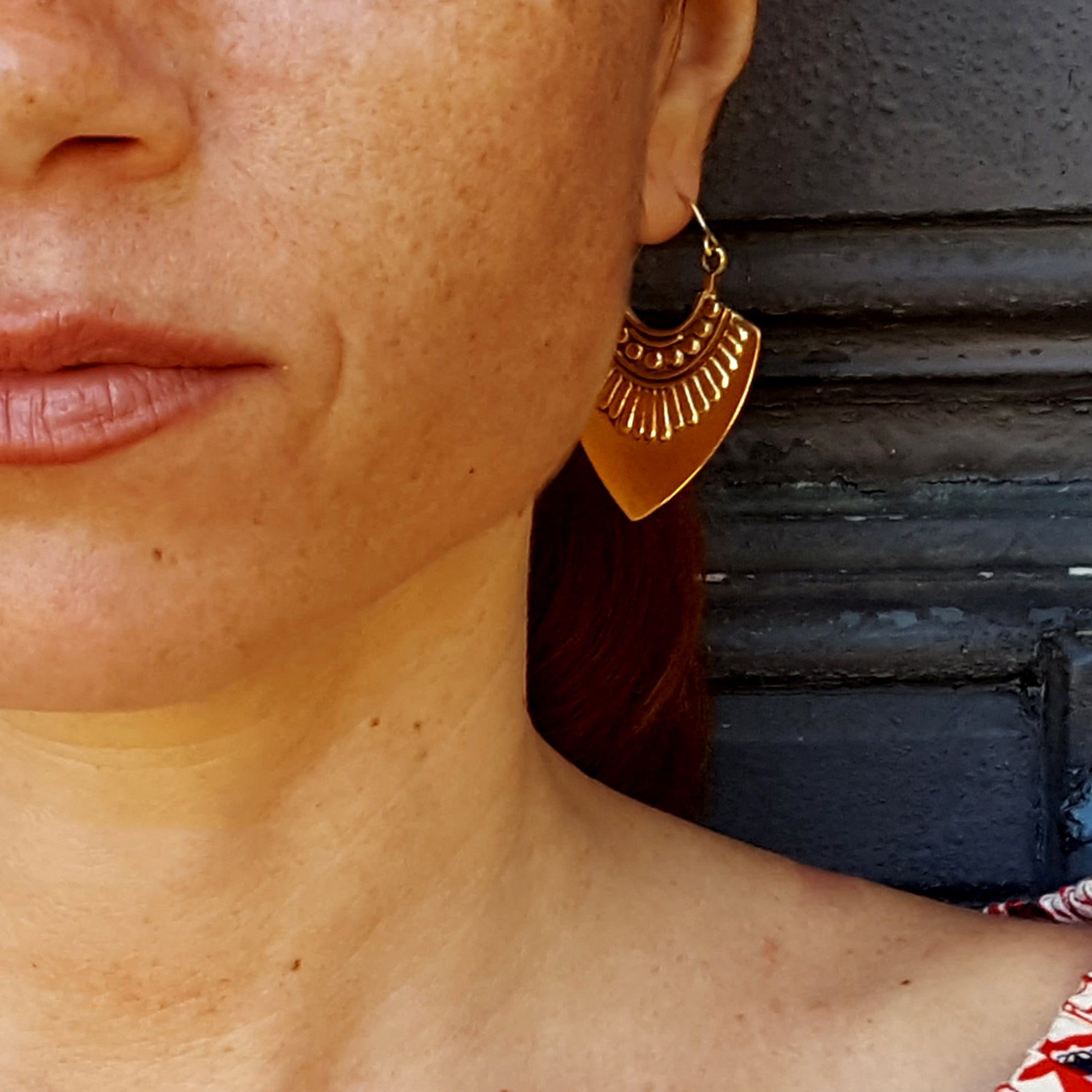 Aztec earrings brass