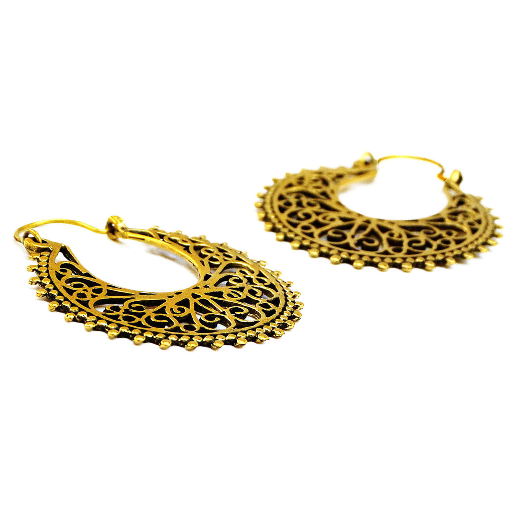 Indian Filigree Hoop Earrings