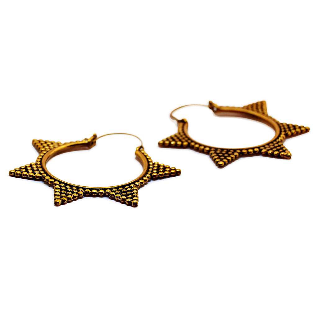 Bohemian hoop earrings gold