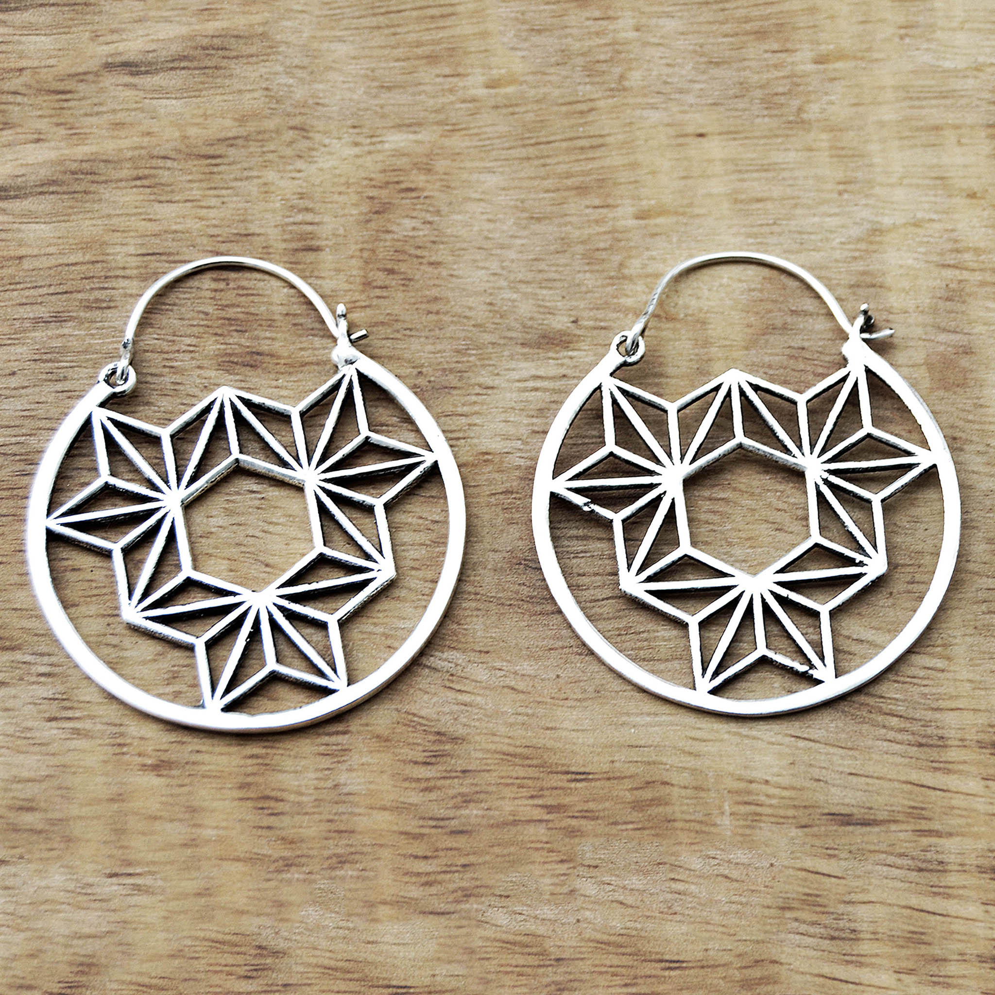Geometric mandala earrings