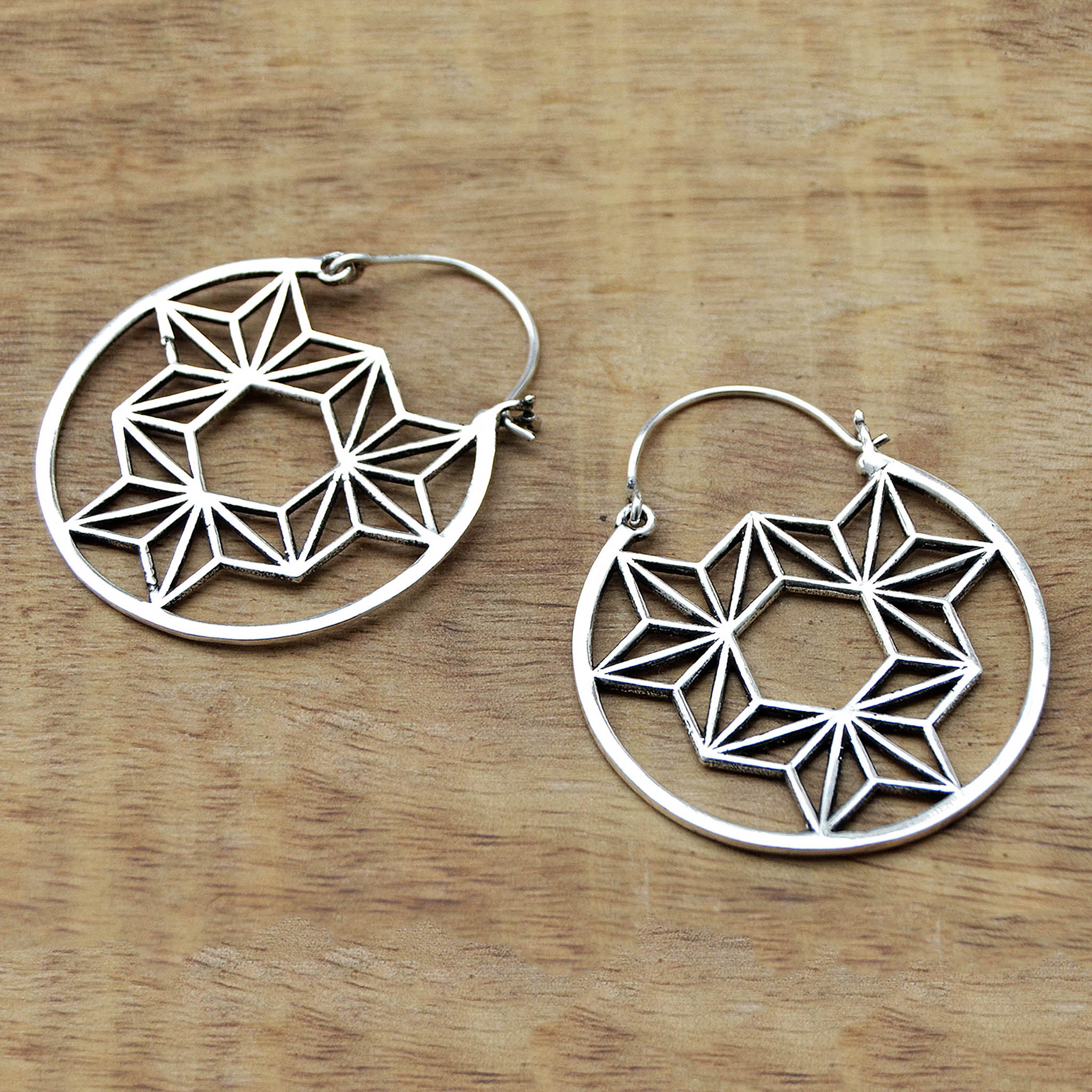 Silver tribal mandala earrings