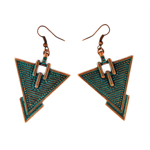 Verdigris Triangle Aztec Earrings