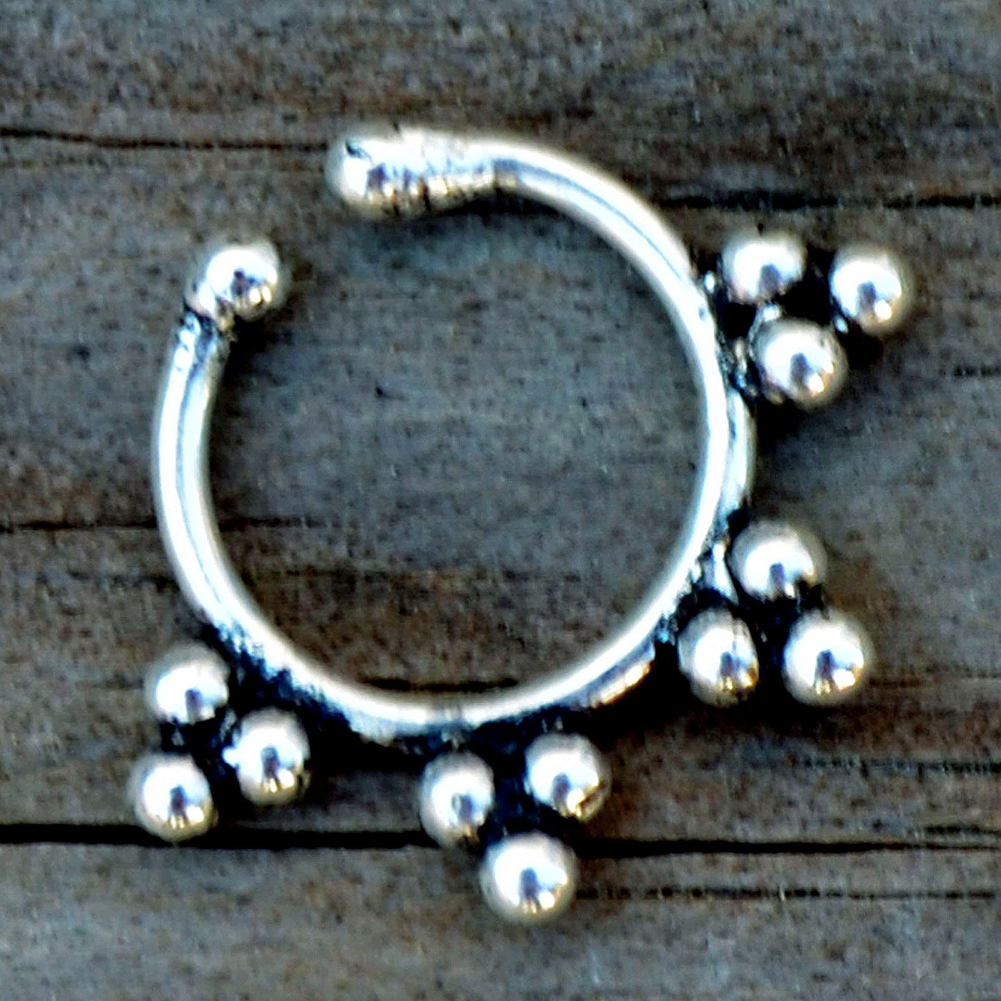 Silver tribal fake piercing