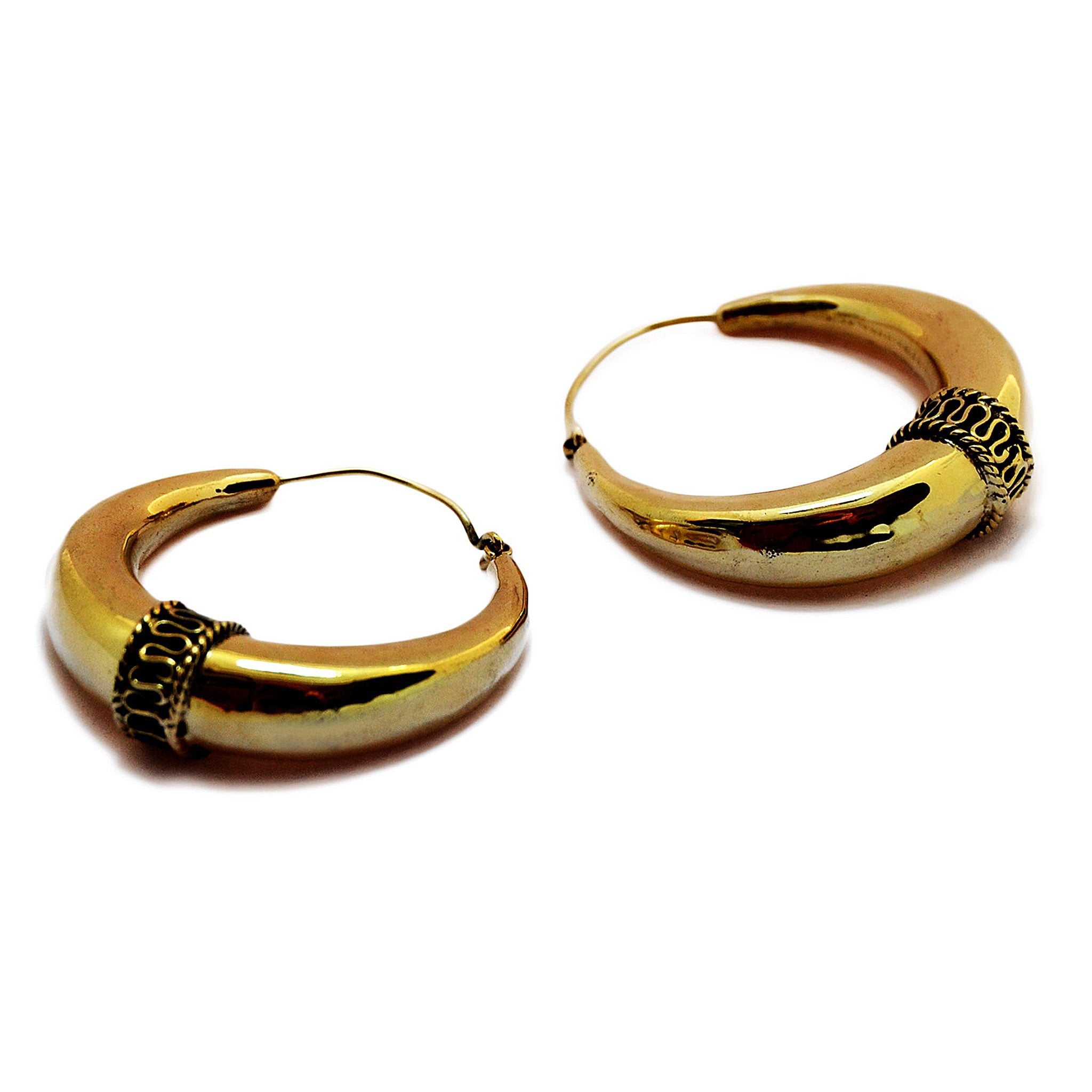 Gold ethnic hoop earrings