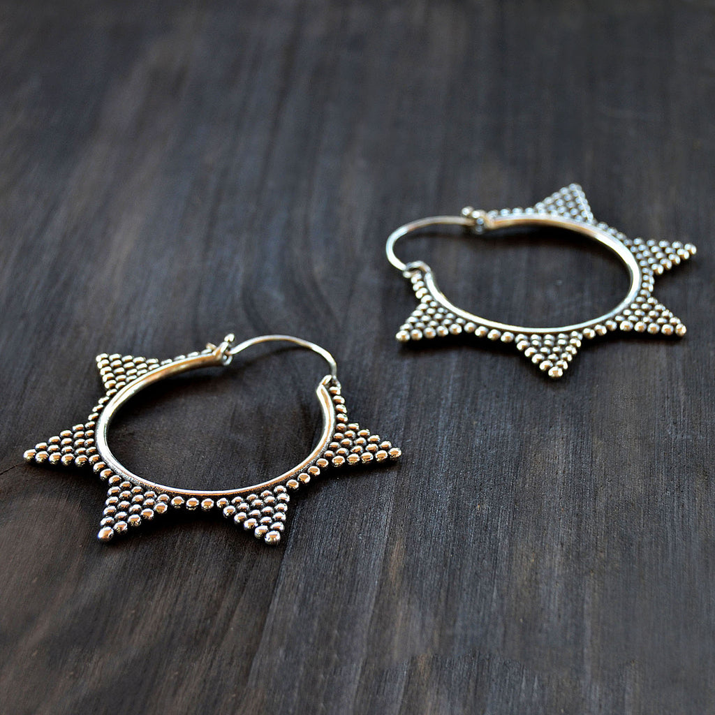 Tribal ethnic hoop earrings