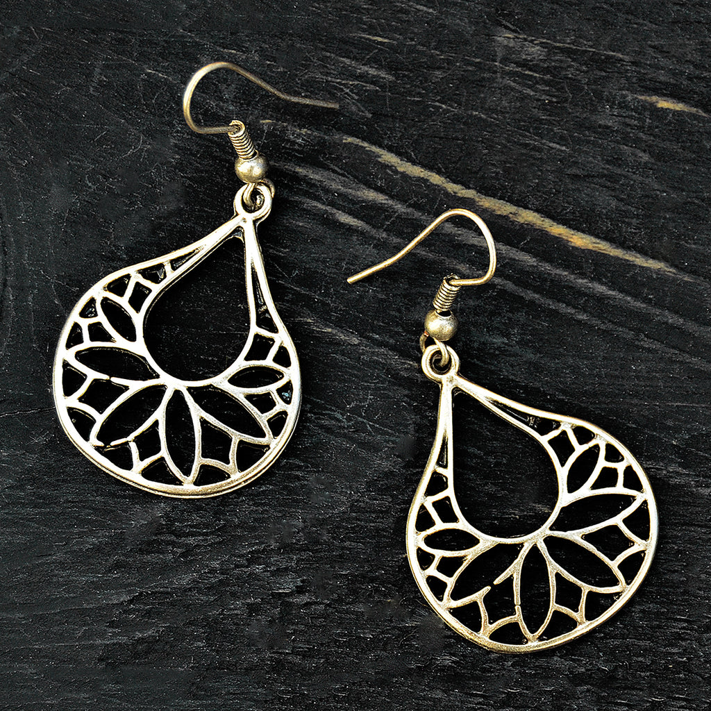 Silver ethnic drop earrings