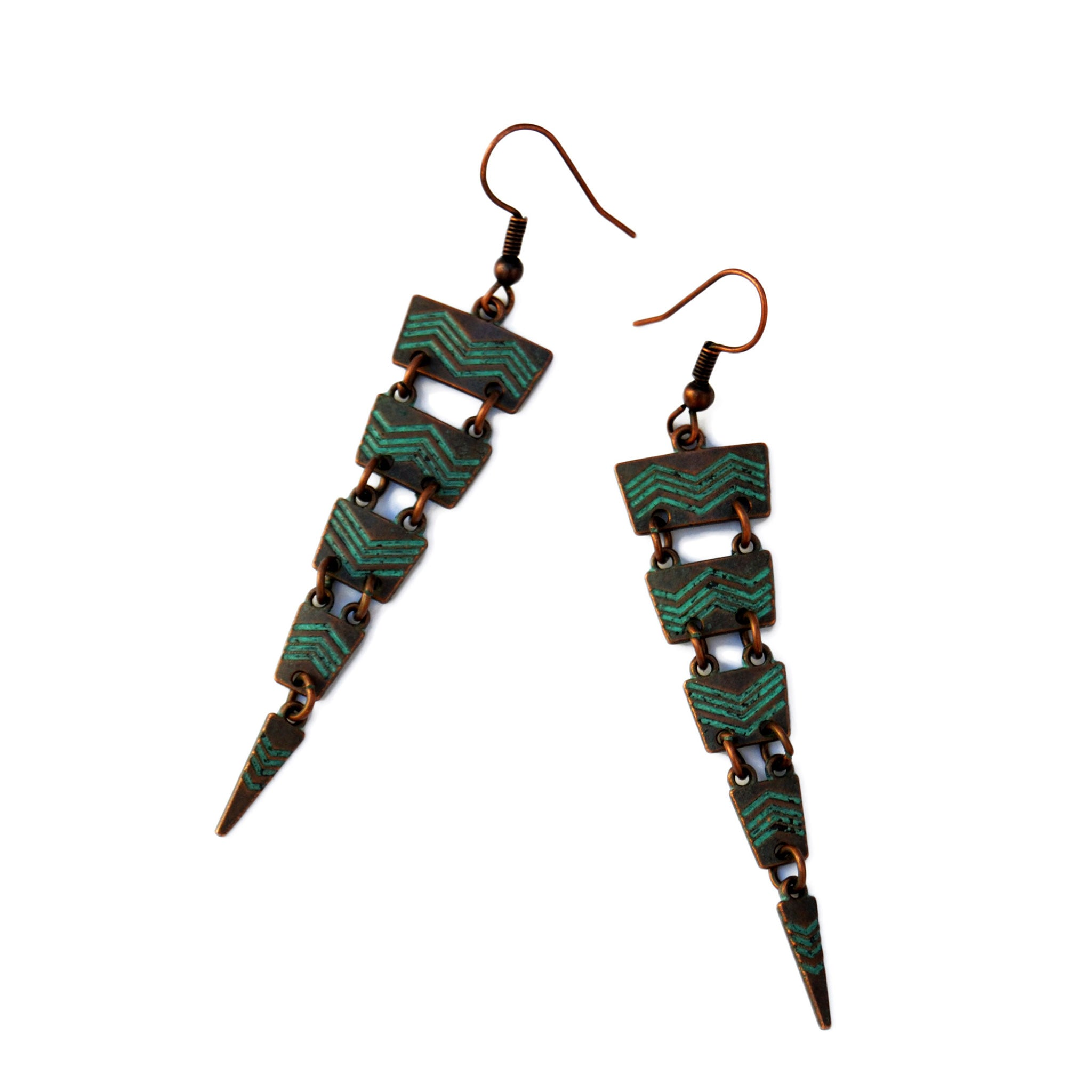 Green patina cascade earrings