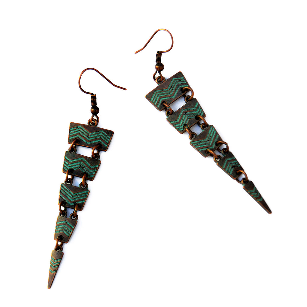 Verdigris boho earrings
