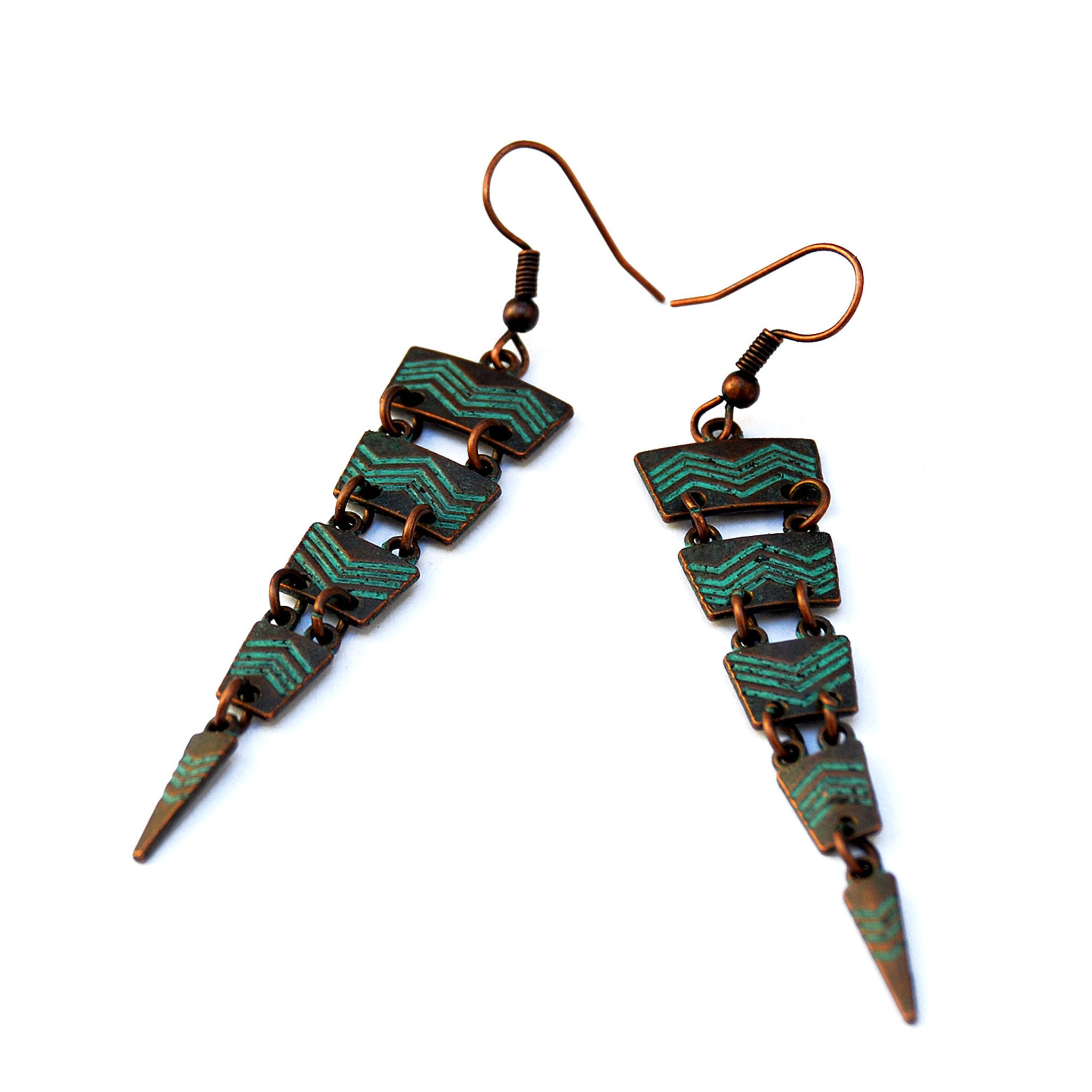 Verdigris patina earrings