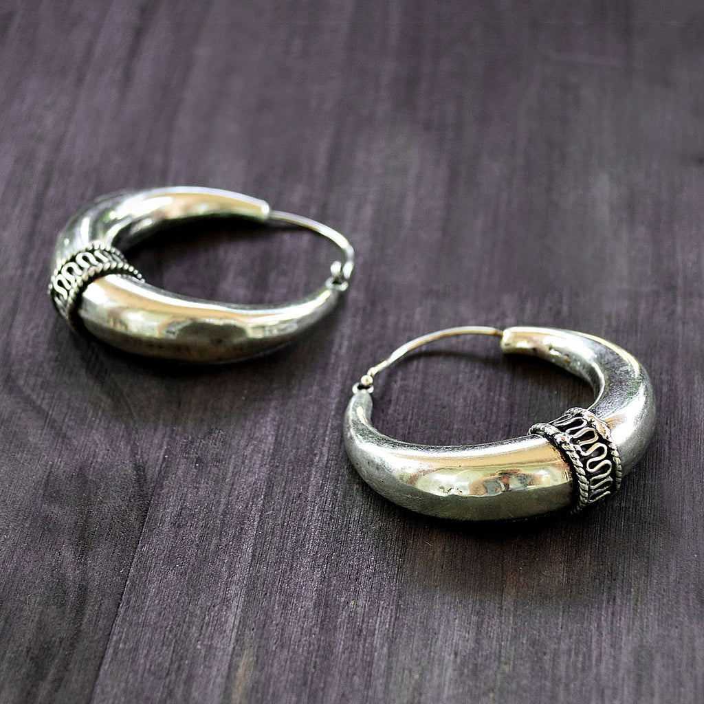 Gypsy tribal hoop earrings