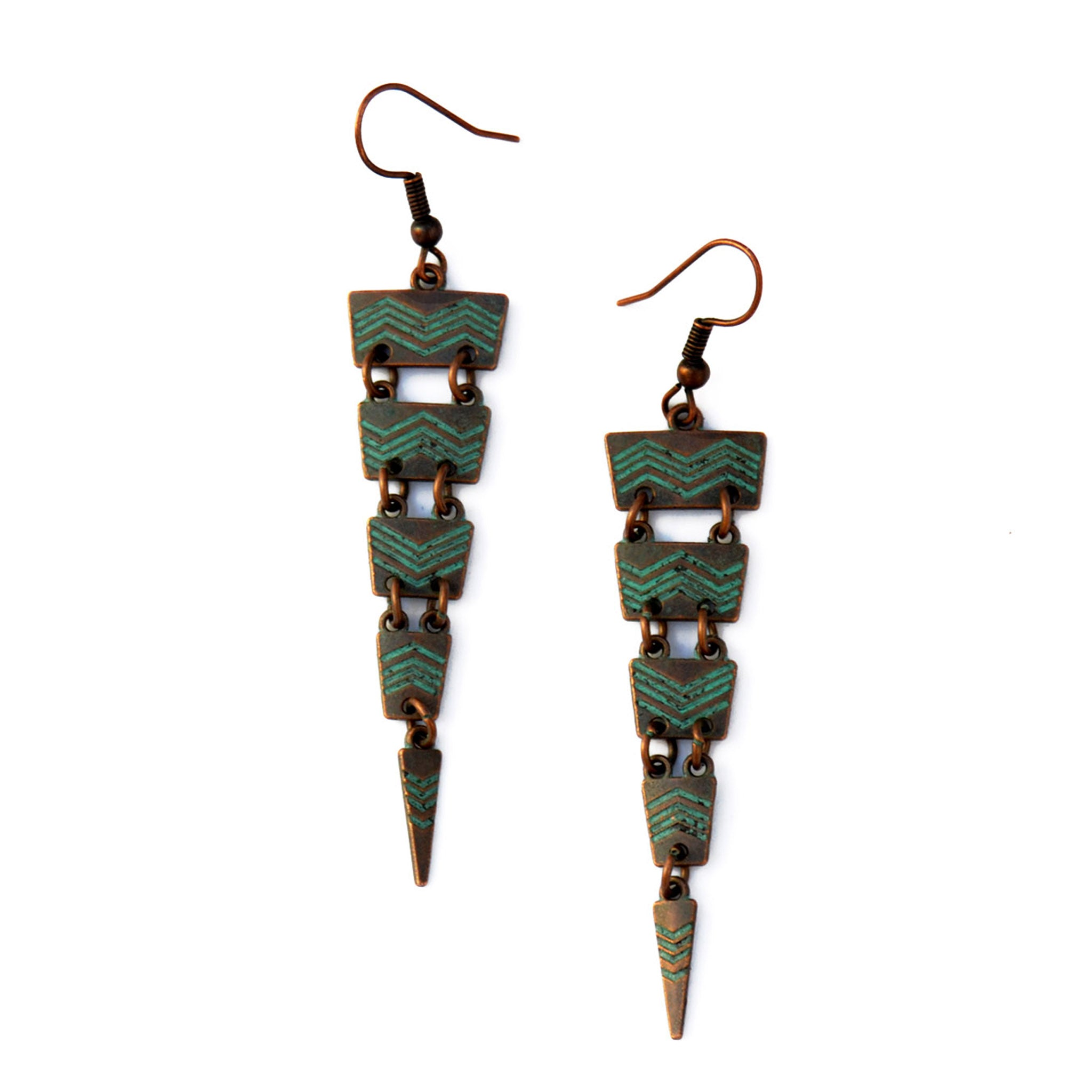 Green copper spike earrings