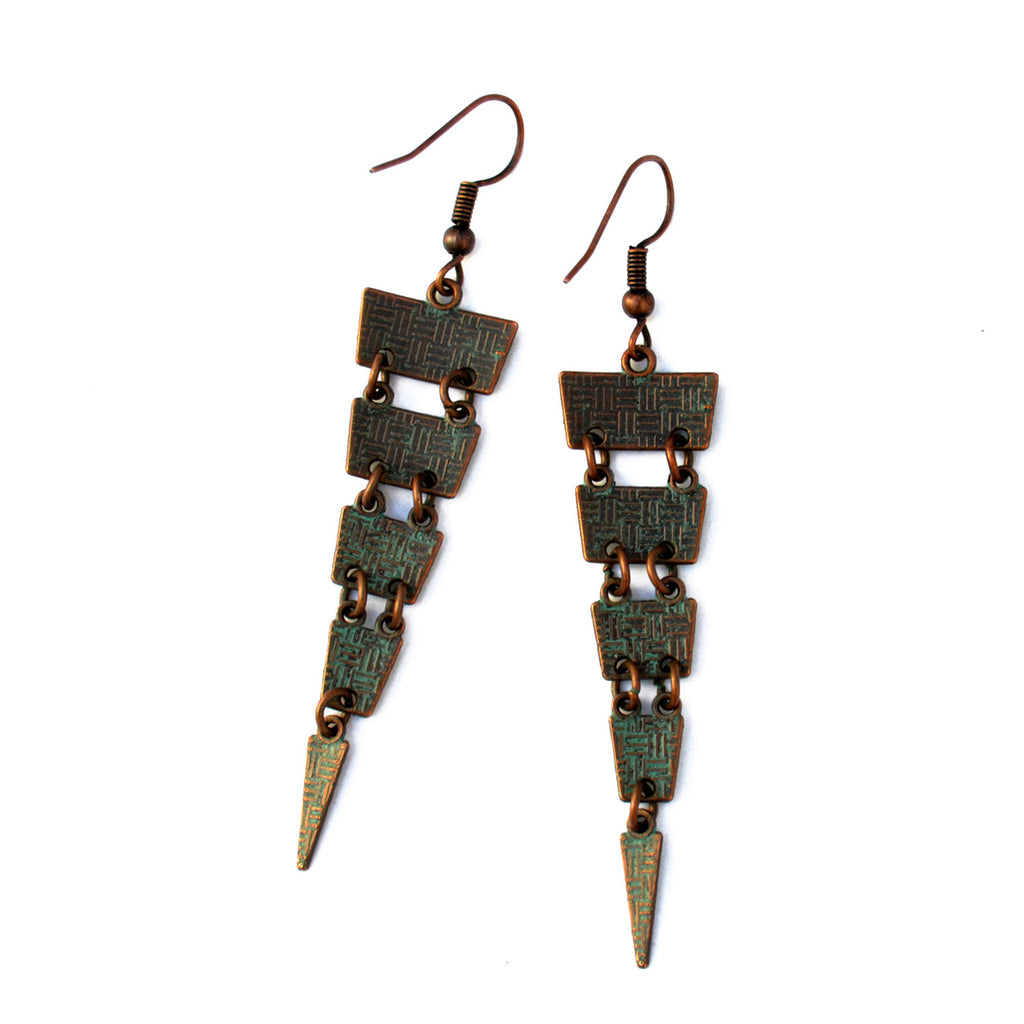 Bohemian verdigris earrings