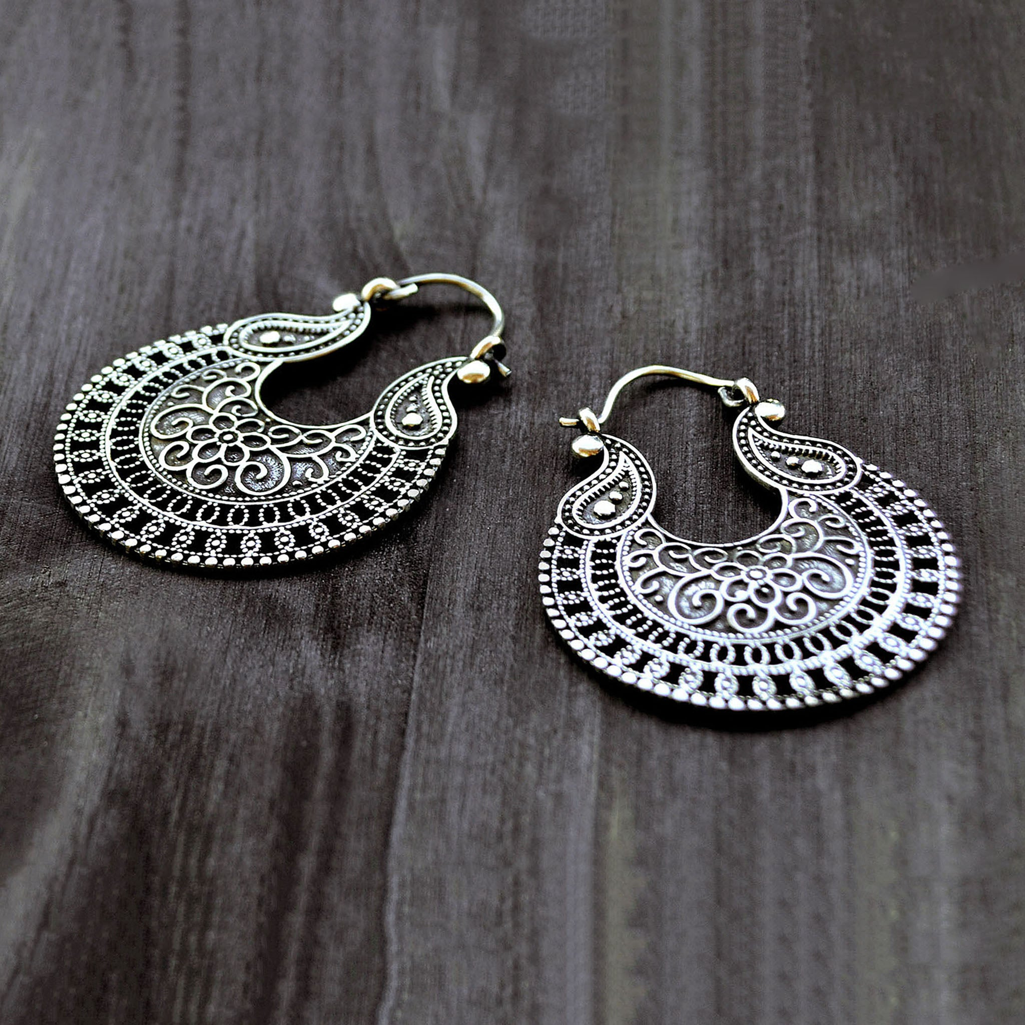 Tribal indian hoop earrings