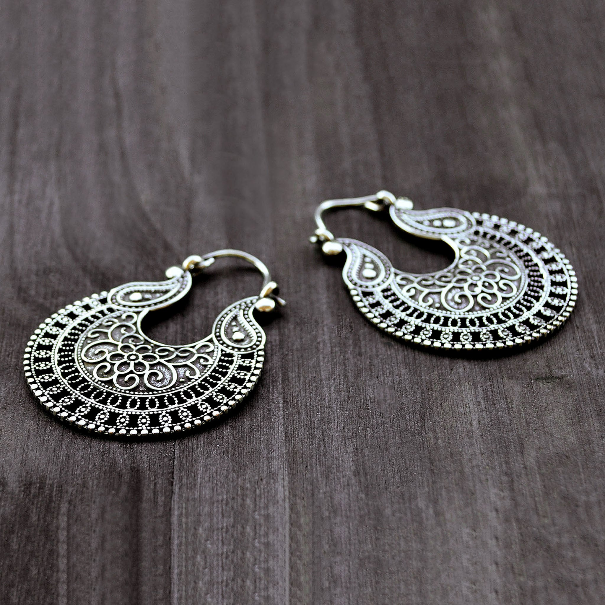 Silver ornate earrings