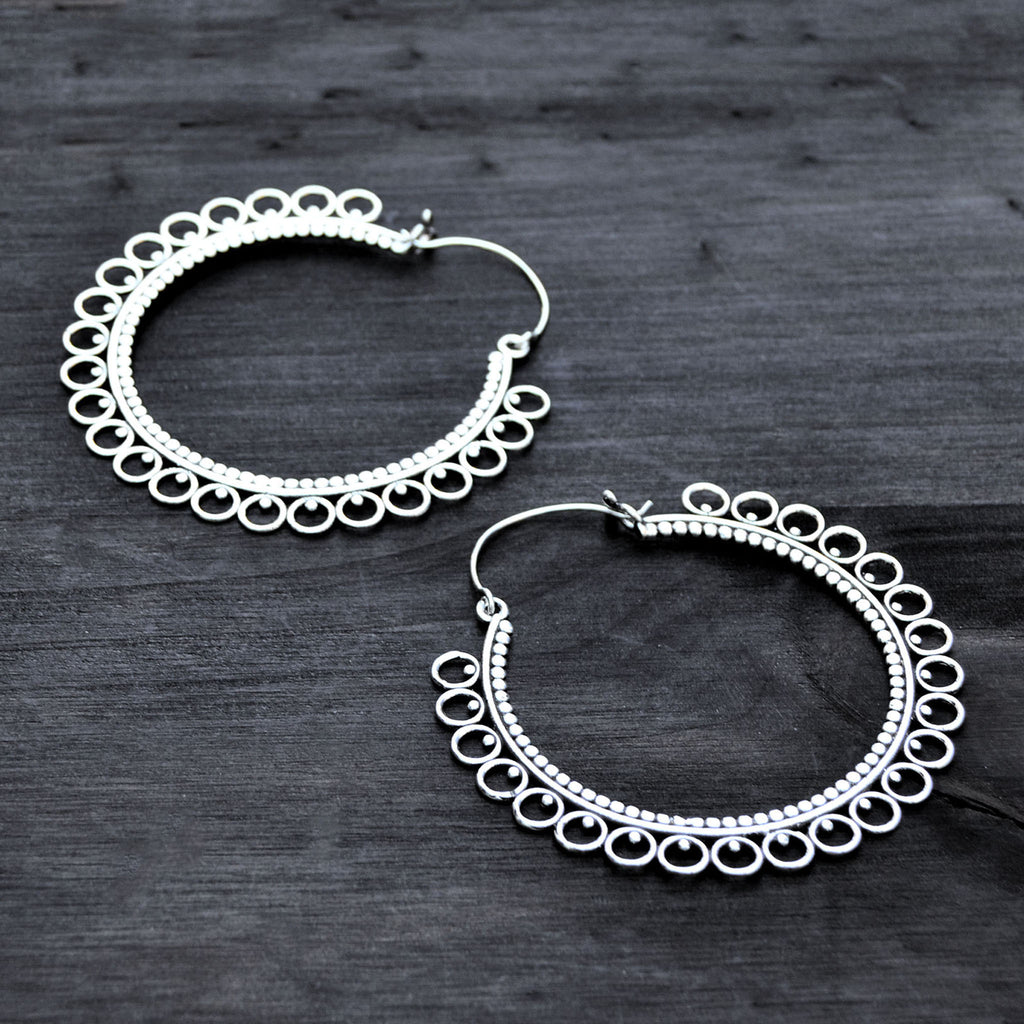 Silver banjara hoop earrings
