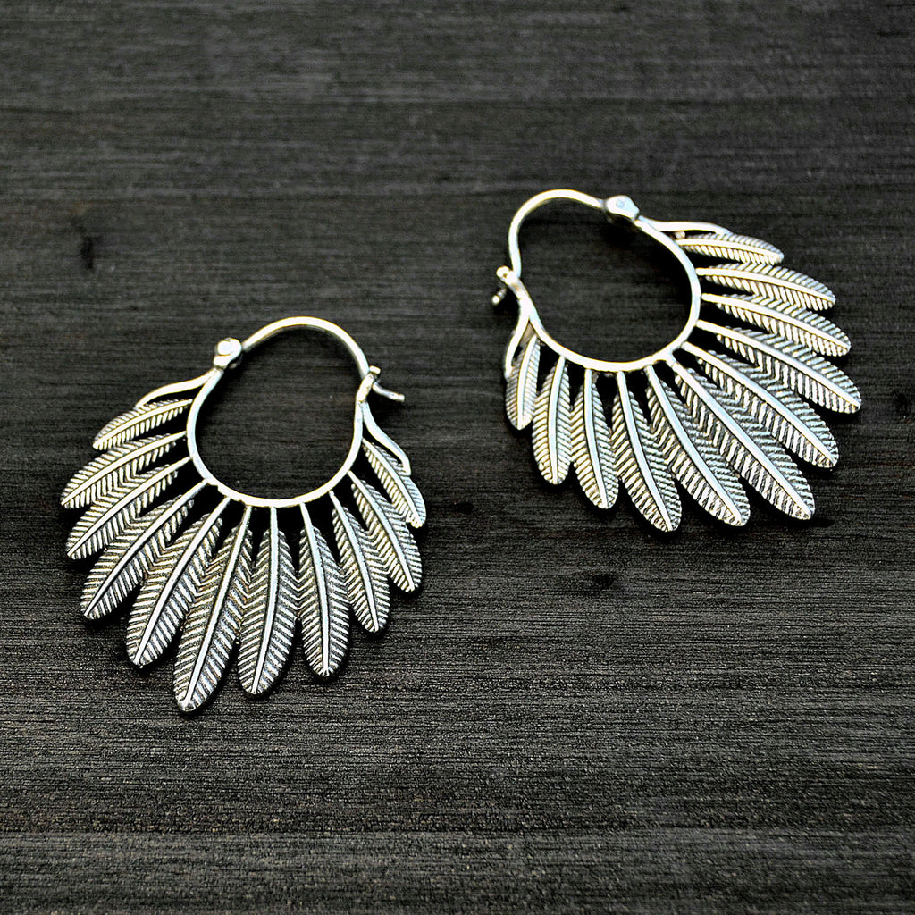 Tribal feather earrrings