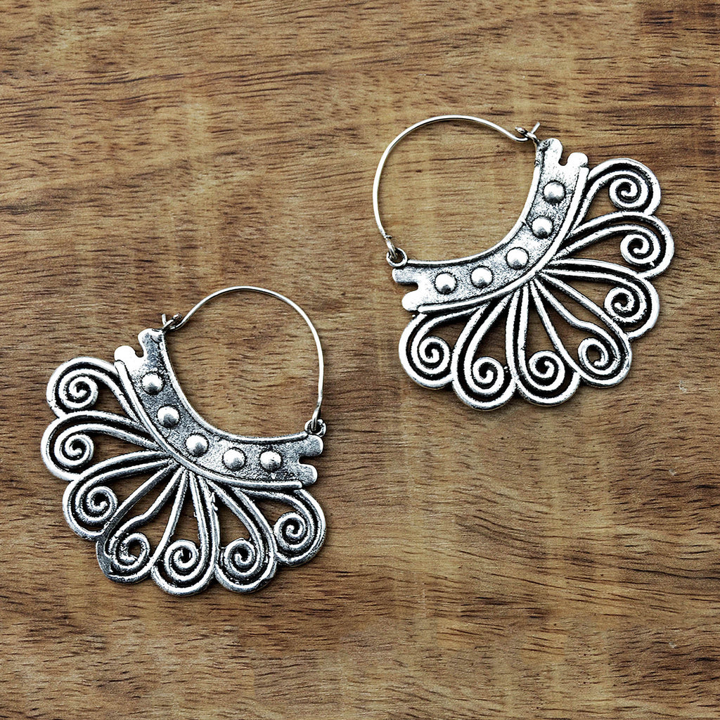Silver ethnic earrings