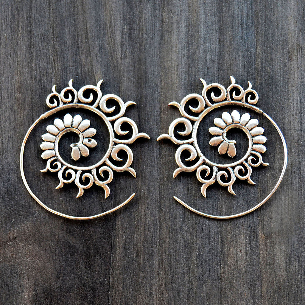 Ethnic spiral earrings
