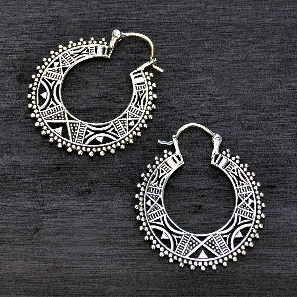 Silver mexican hoop earrings