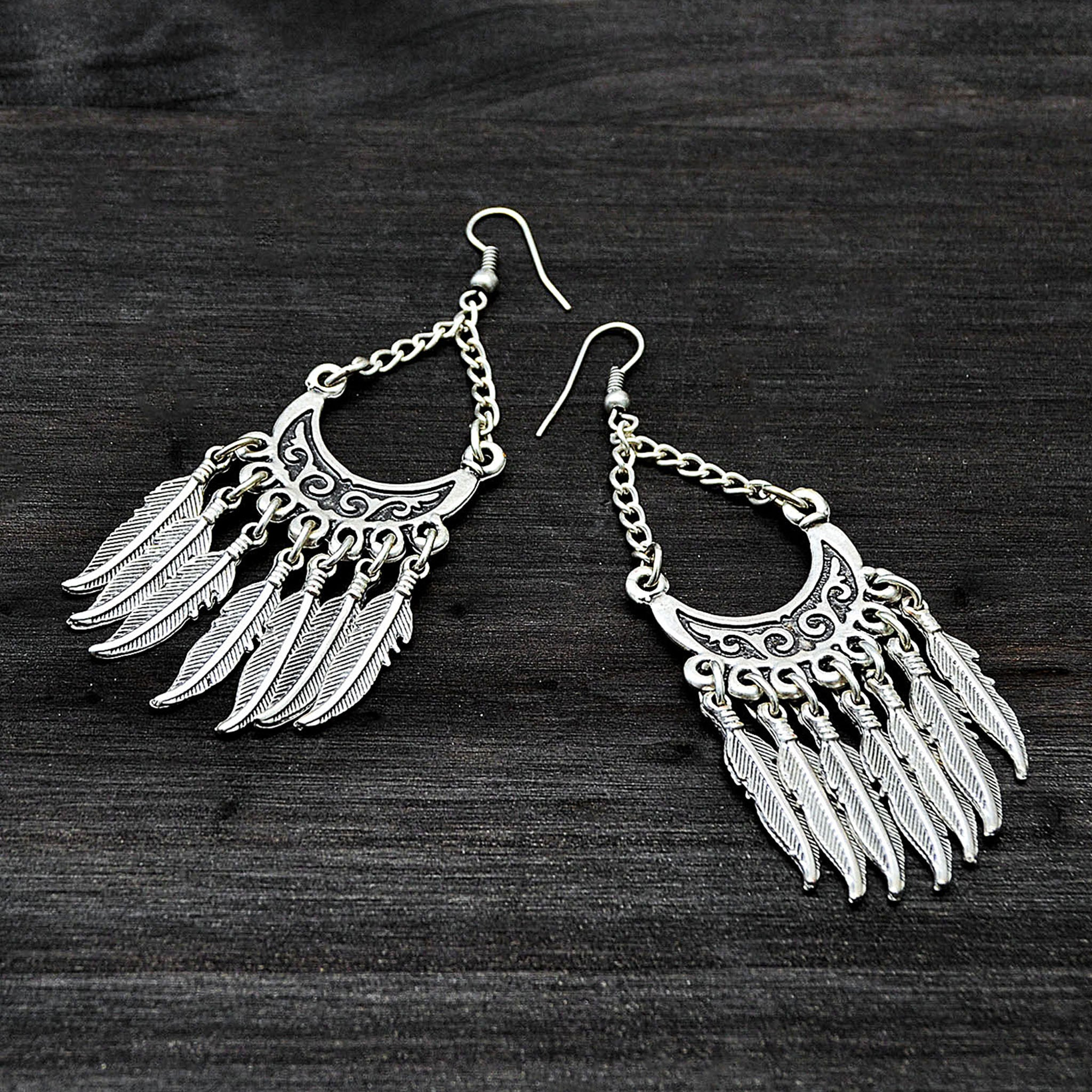 Hill tribe feather earrings