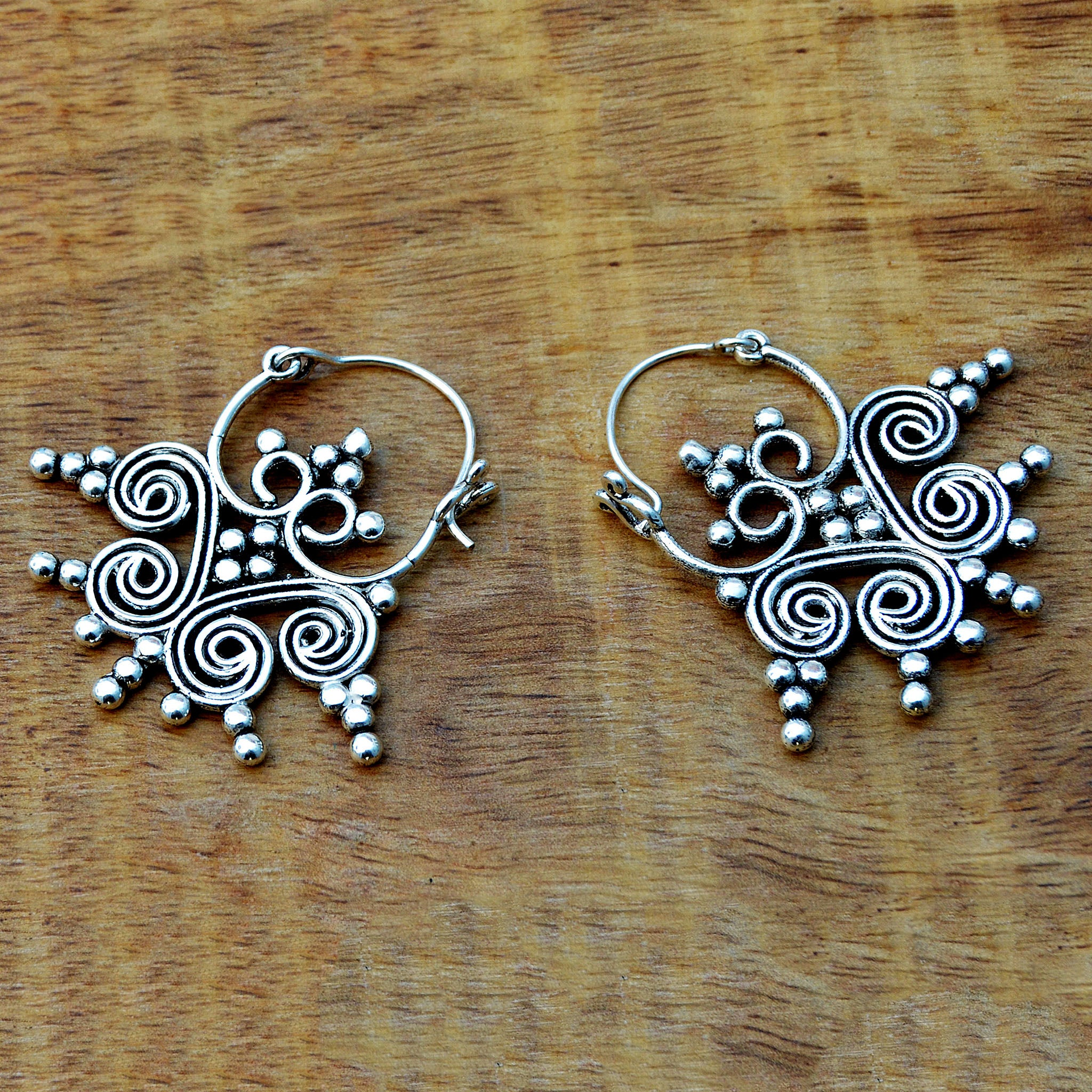 Silver tribe earrings