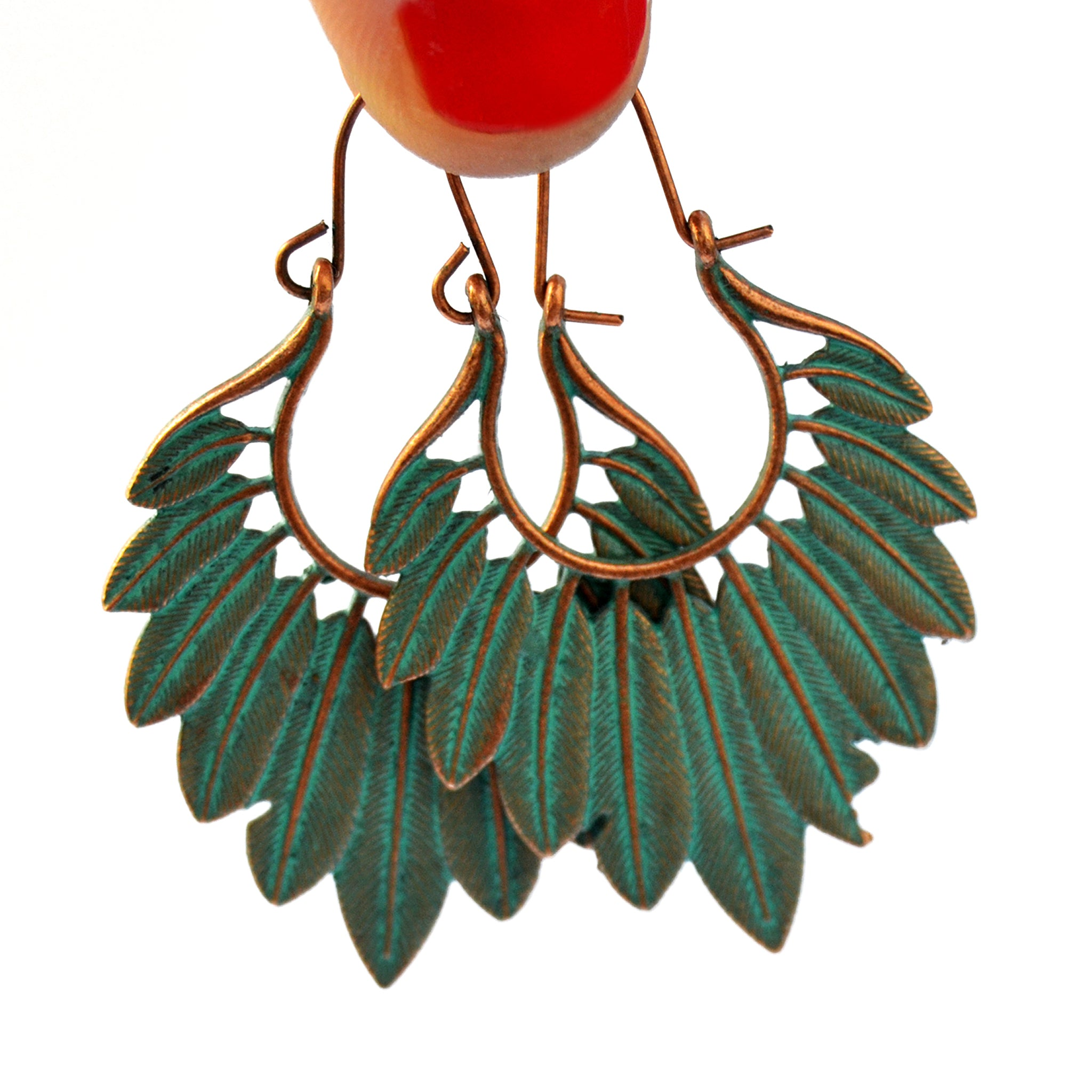 Green copper feather earrings