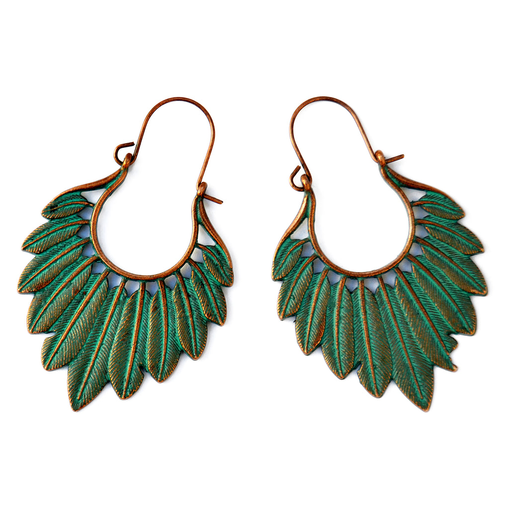 Antique copper feather earrings