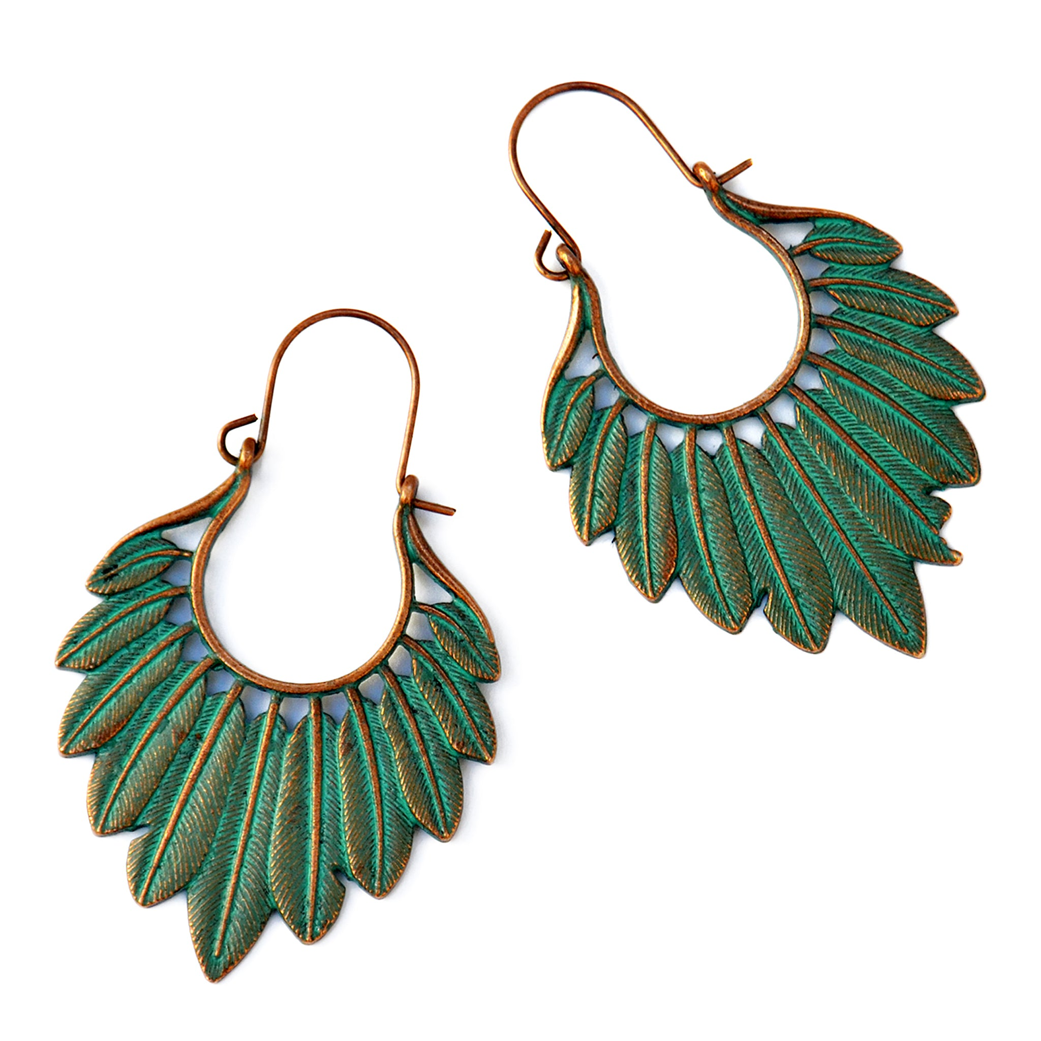Copper verdigris feather earrings