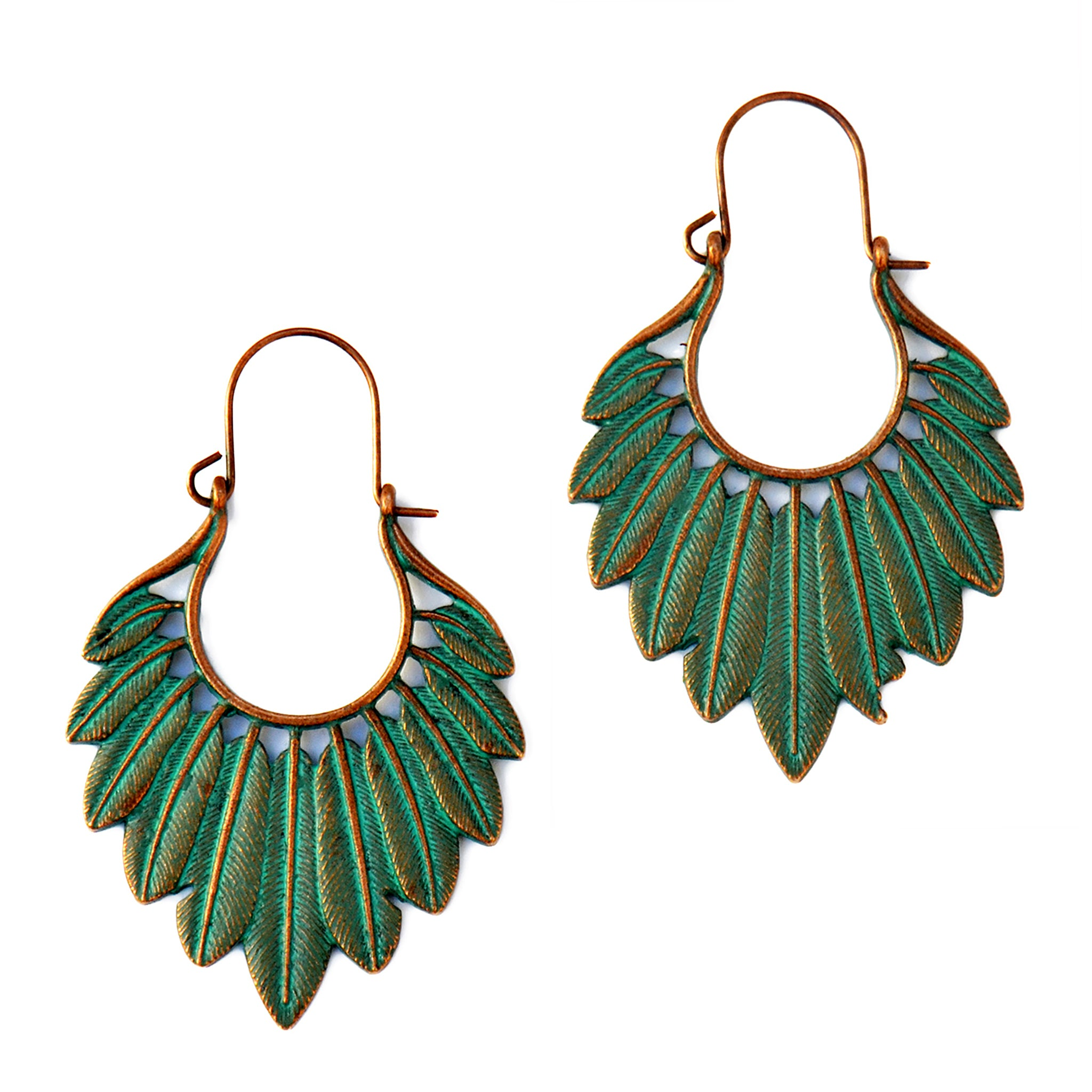 Ethnic feather earrings verdigris