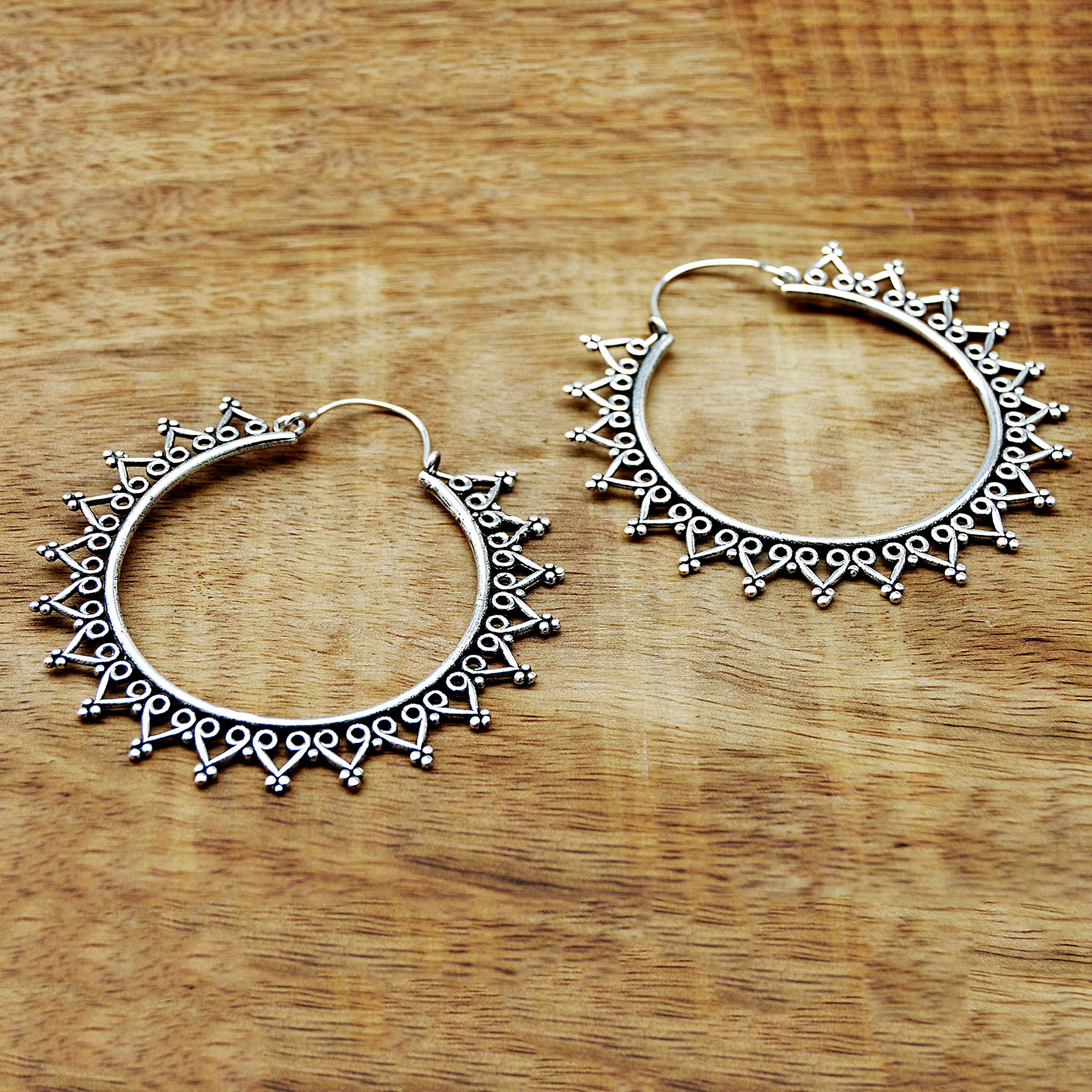 Ethnic silver hoop earrings