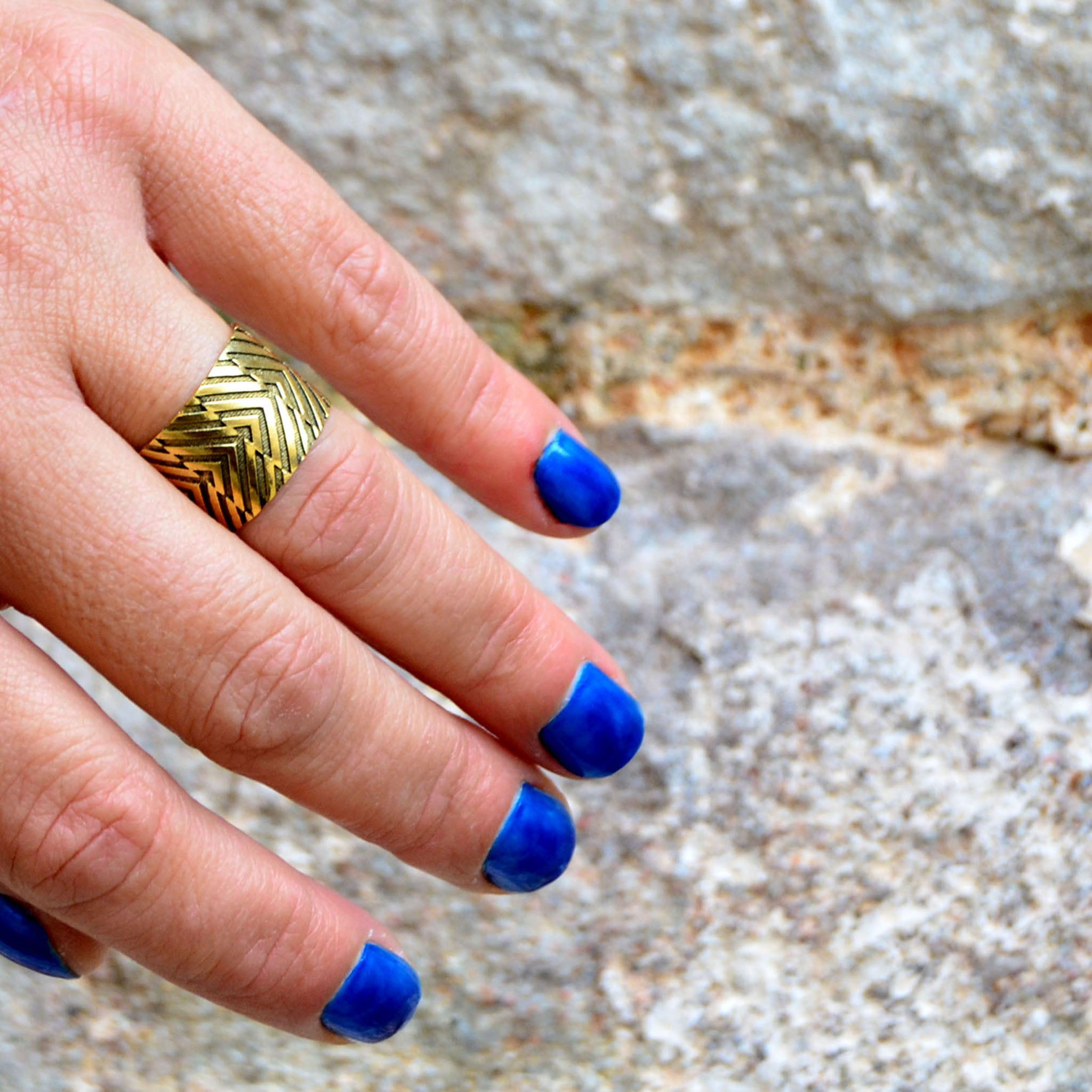 Brass gold geometric ring