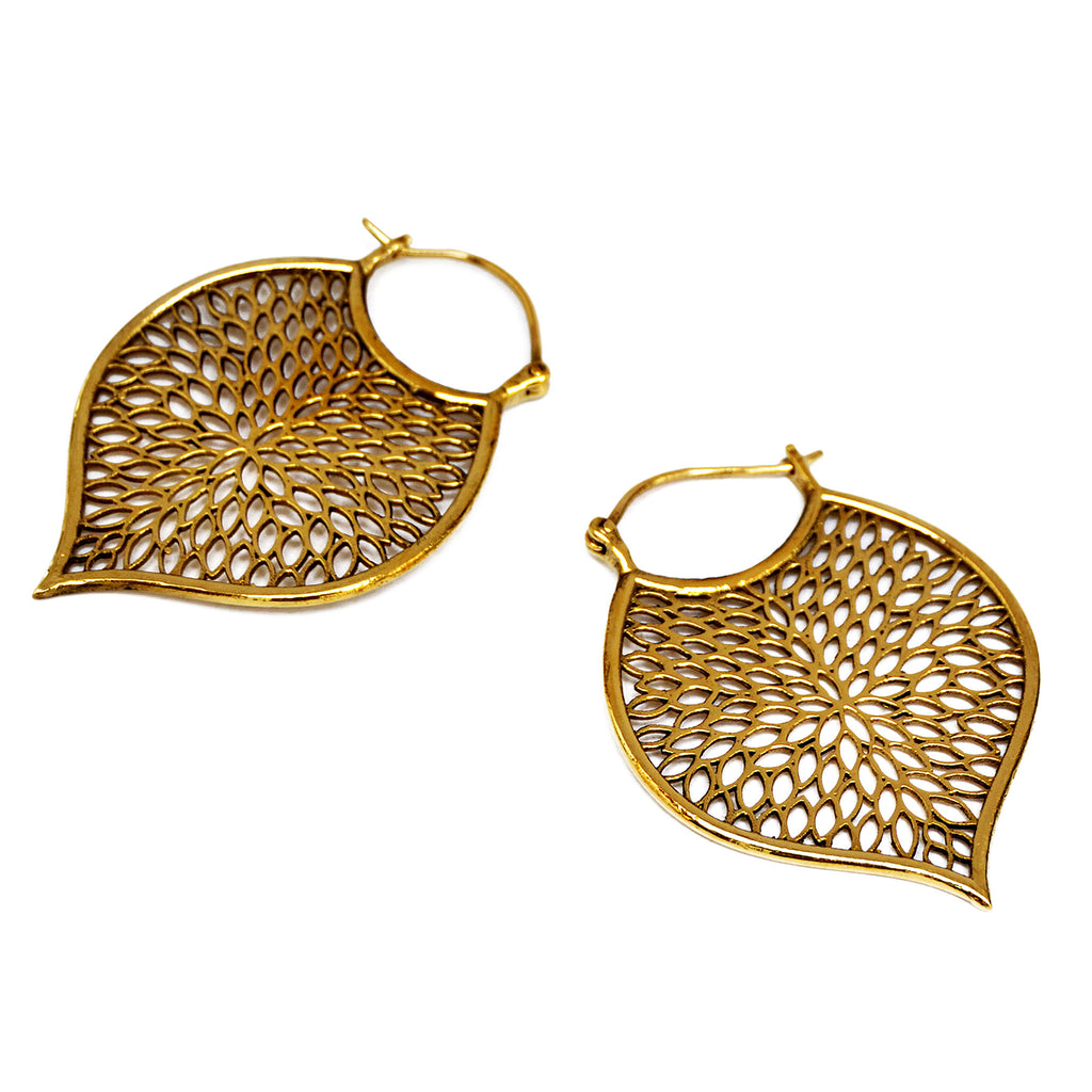 Gold tribal leaf earrings