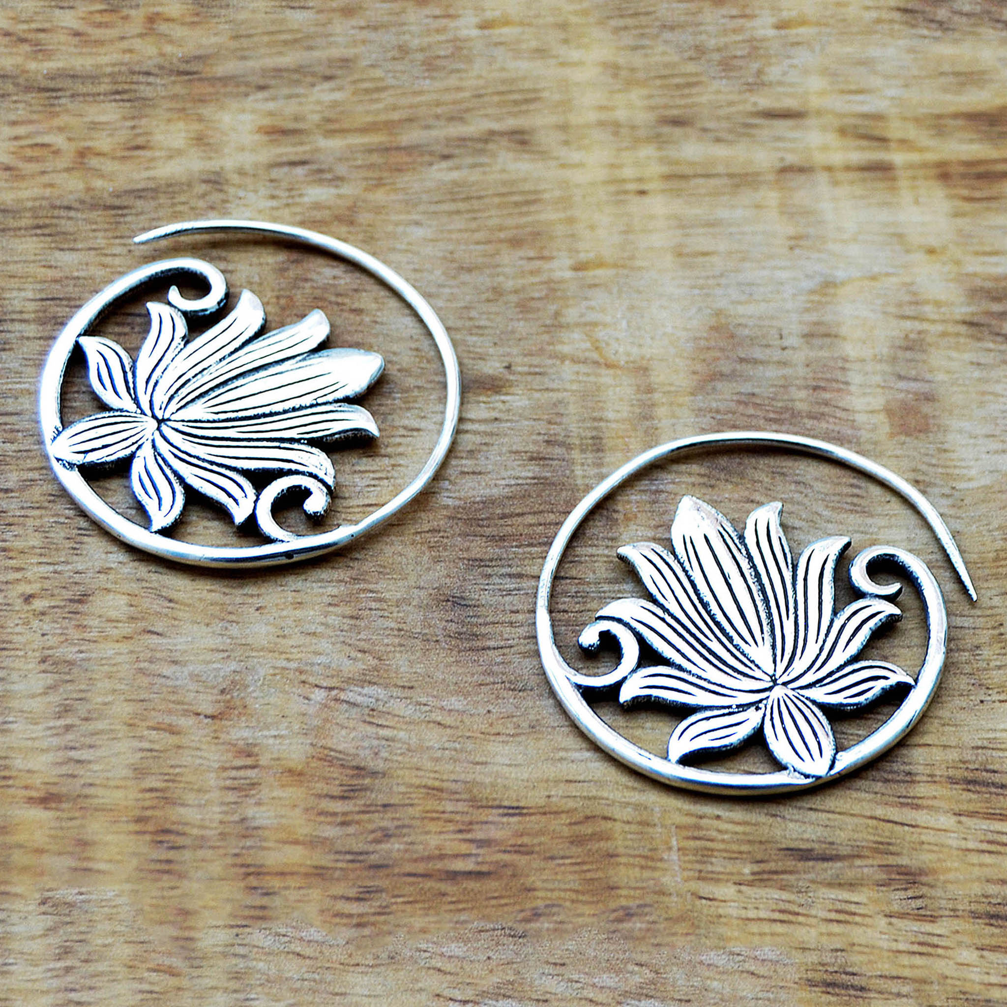 Spiral lotus earrings