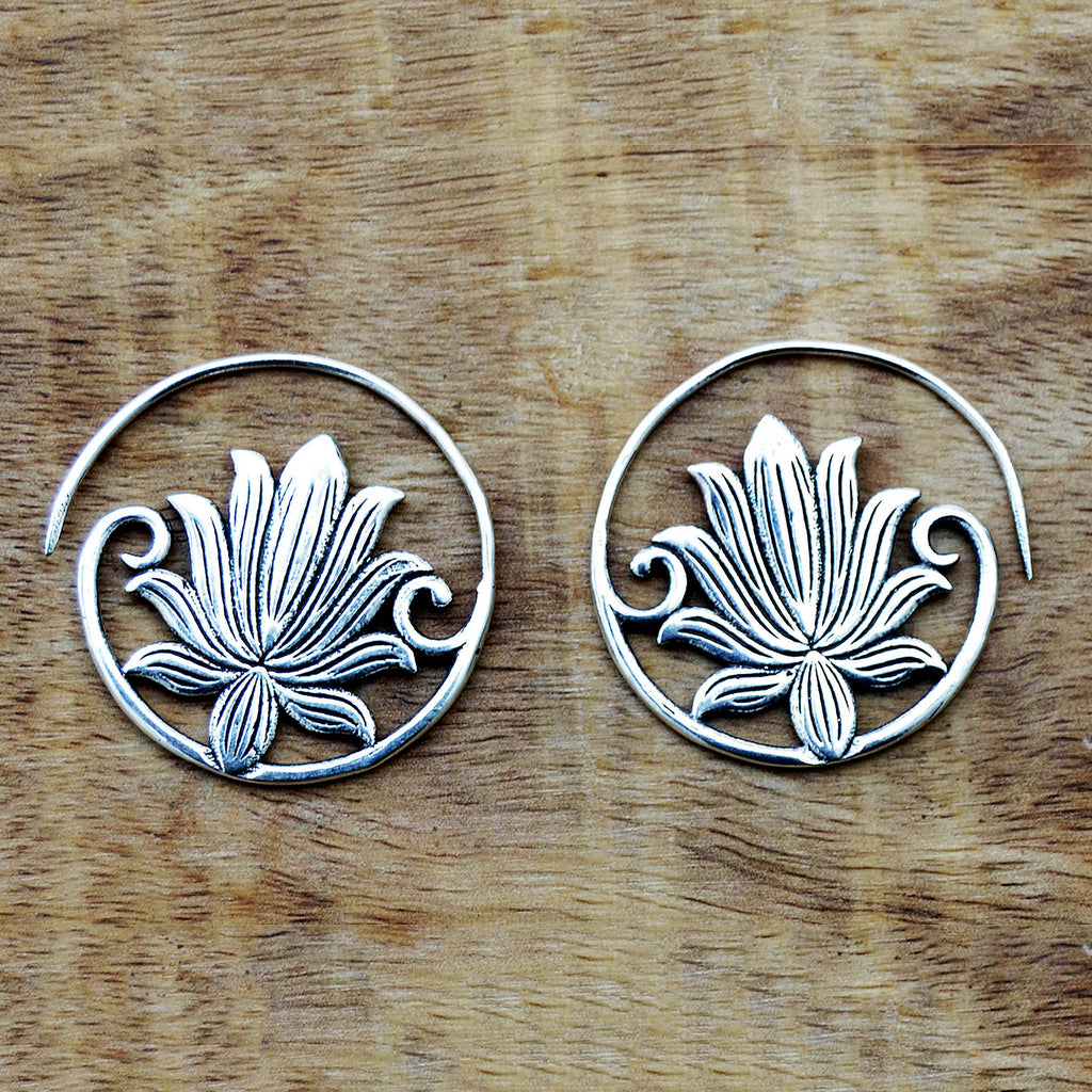 Tribal lotus earrings