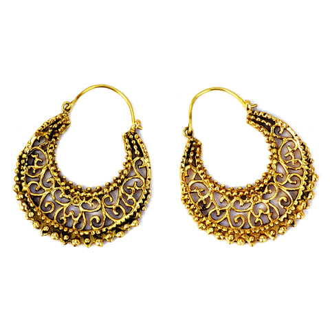 Gypsy Filigree Brass Earrings