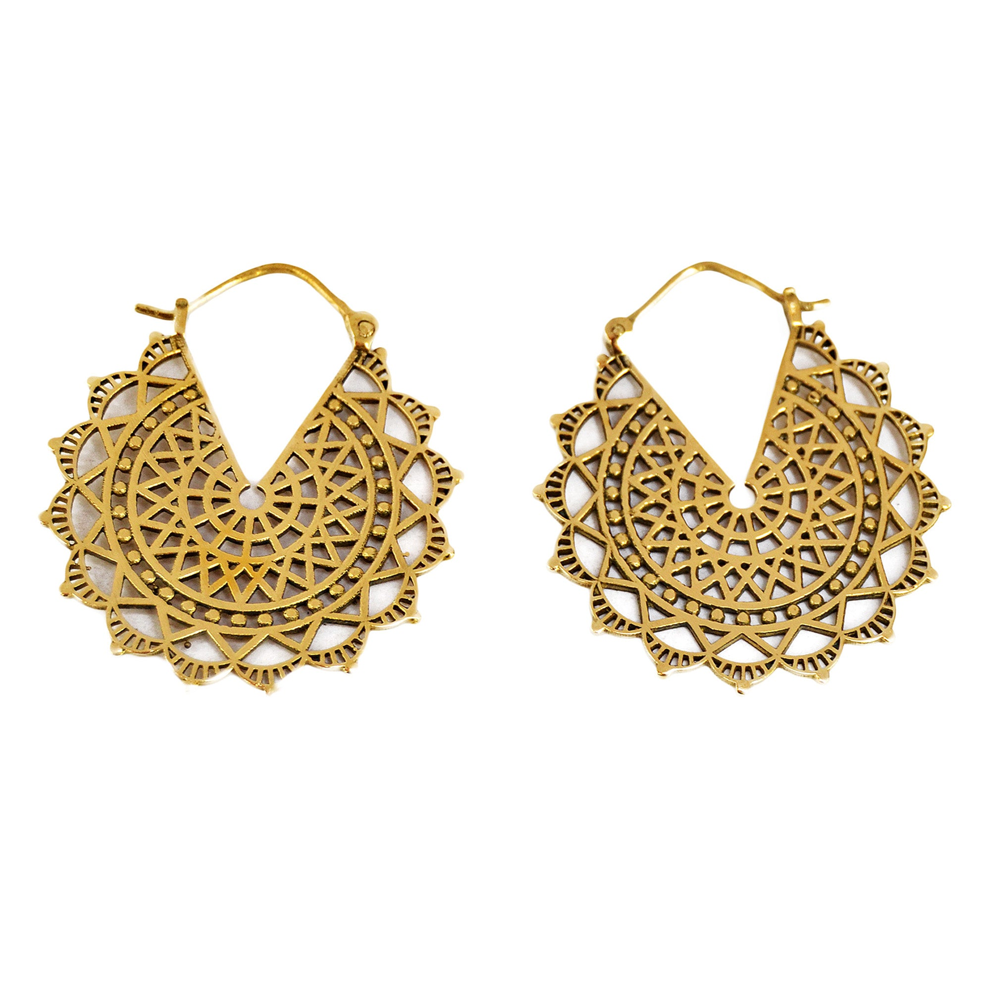 Brass mandala earrings