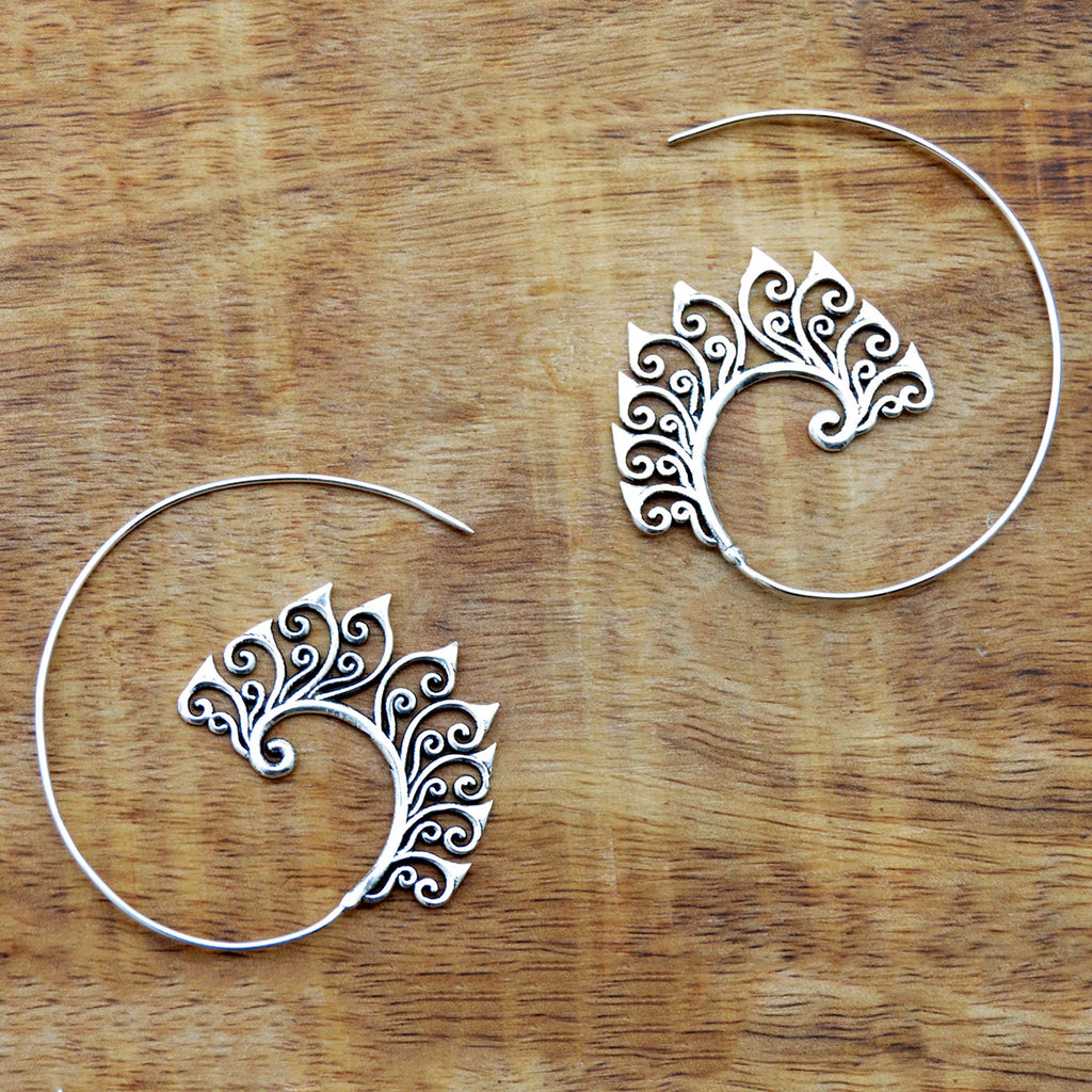 Gypsy hoop earrings silver