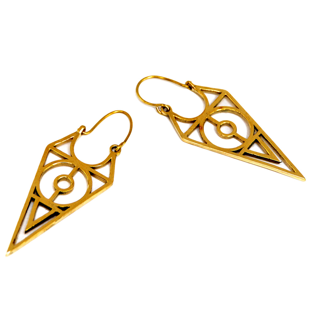 Triangle and circle earrings