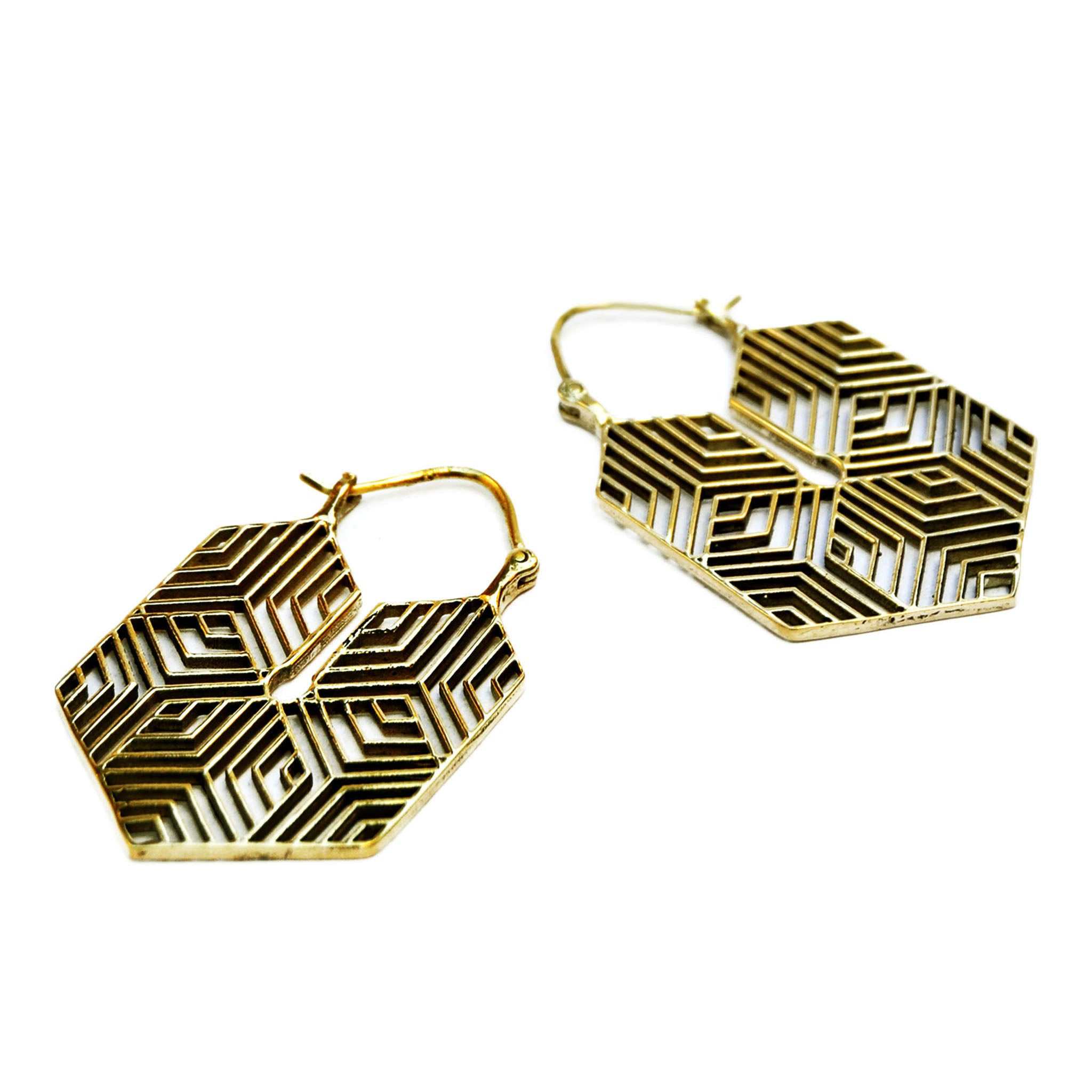 Large geometric earrings