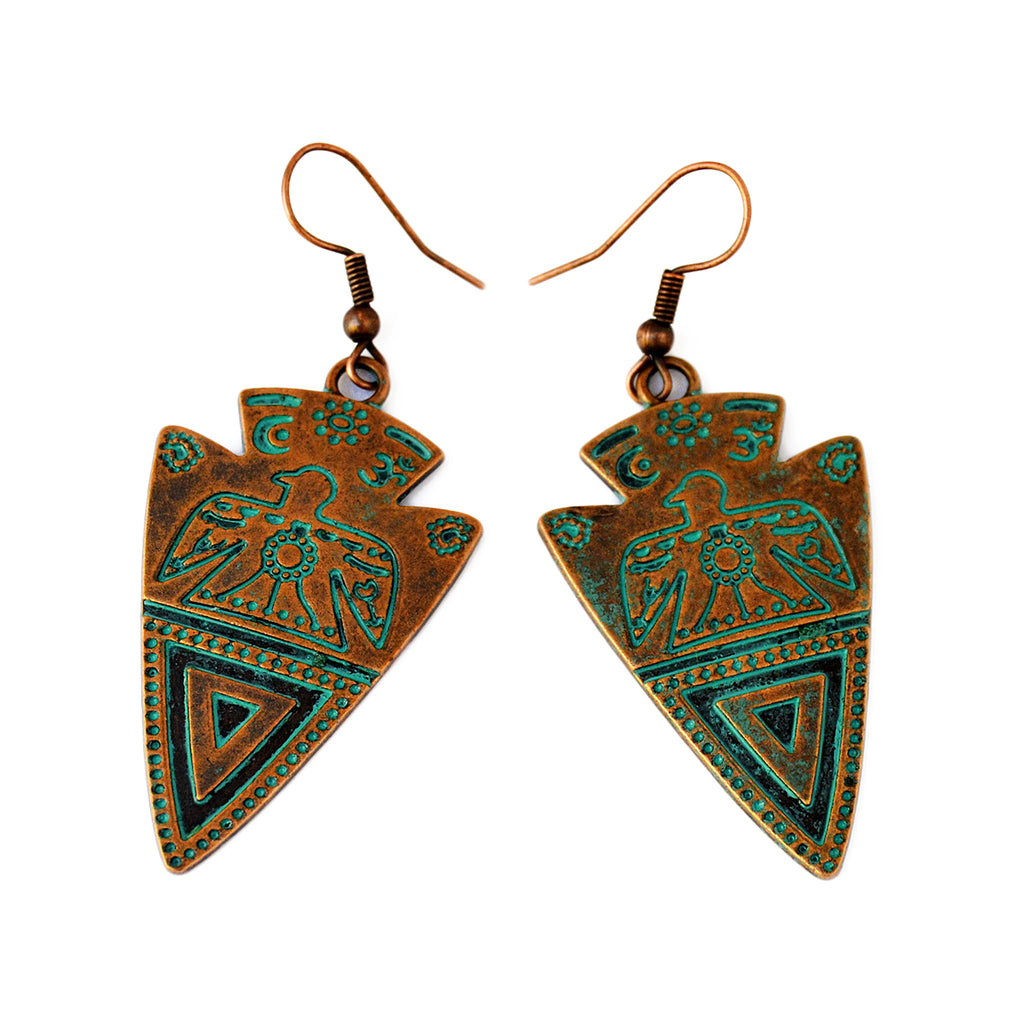 Oxidized copper arrow earrings