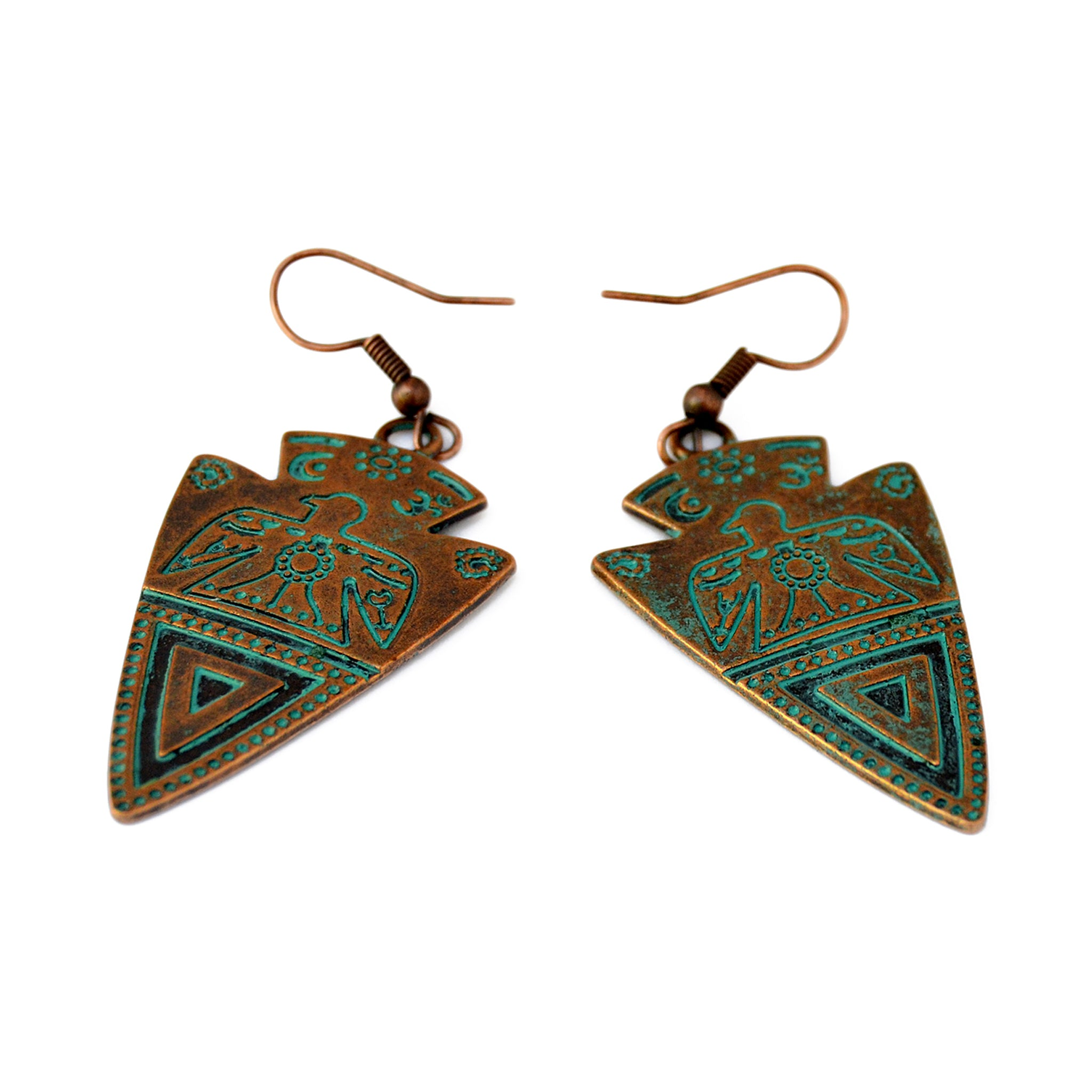 Green copper tribal earrings