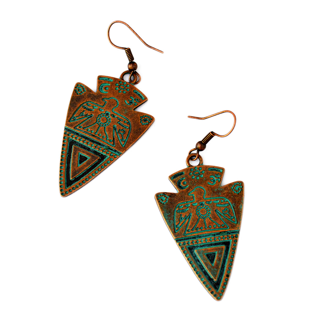 Aztec bird earrings