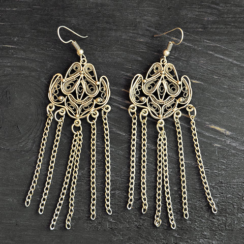 Ottoman Long Filigree Earrings