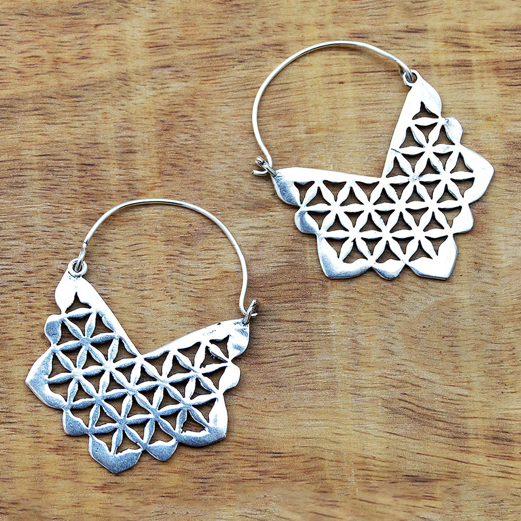 Silver indian earrings