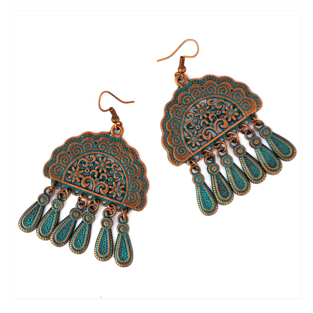 Antique copper earrings